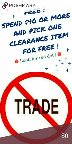 FREE! SALE!👗👡👚👖👙 Awesome Sale! You spend $40 and you can pick any item with the red dot and it's yours for free. Let me know what you want and I'll package it with your purchases. Spend $60 and you pick 2 items for free. I have some great things here. Don't Miss Out.  All items are either new w/tags, new w/o tags or excellent condition. I have a smoke/pet free home that's super clean. I ship same day or next.❌ trade ❌ lowballer ❌ paypal. Please feel free to ask any questions. Thanks for…