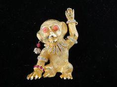 kenneth jay lane monkey | RARE Early 60's KJL Kenneth Jay Lane Fantasy Monkey Brooch