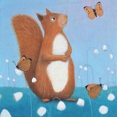 Red Squirrel with Butterflies 'Curiosity' Ailsa Black blank greetings card Squirrel Art, Black Squirrel, Sketch Painting, Drawing Art, Community Art, Medium Art, Fine Art Paper, Art Day, Cool Drawings
