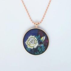 Dainty and Enchanting White Rose painting on Rose Gold Pendant Necklace Little Elm, Rose Gold Pendant, Ocean Colors, Cool Gifts For Women, Colorful Artwork, White Roses, Handmade Jewelry, Jewelry Design, Jewelry Making
