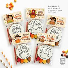 Thanksgiving Bag toppers Bag topper PYO Cookie Pilgrim bag Paint Cookies, Online Printing Companies, Cookie Tutorials, Fall Cookies, Bag Toppers, Candy Bar Wrappers, Printed Pages, Thanksgiving Desserts, Pilgrim