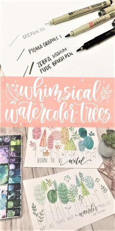 Whimsical watercolor trees and simple floral drawing written and video tutorial with free printable template for a few botanical shapes Learn Watercolor Painting, Watercolor Paintings For Beginners, Watercolor Trees, Watercolour Tutorials, Watercolor Techniques, Watercolor Portraits, Watercolor Cards, Watercolor Landscape, Abstract Watercolor
