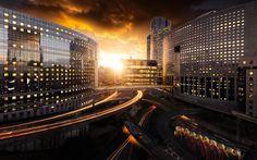 Scarica sfondi Parigi, architettura moderna, centri commerciali, ponti, tramonto, Francia