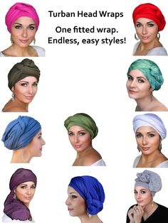 Fitted one piece turbans are much easier than a scarf! Perfect accessories for a bad hair day, street style, chemo, alopecia.