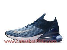 5683c89715275 Nike Air Max 270 Flyknit Chaussures de Running Nike Pas Cher Pour Homme  Bleu Noir AO1023