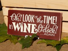 Wooden Wine O'clock Sign, Burgundy, Handcrafted