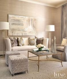 Transitional Formal Living Room love the grasscloth, pattern mix and Rest Hard floor lamps
