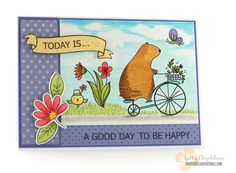 Today is a Good Day to Be Happy Waffle Flower Crafts Happy Day stamp set, Faber Castell Polychromos, MFT Blissful Blooms stamp set and die-namics