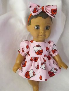 9f05191d6eb Luvabella Clothes Valenetines Hello Kitty Dress With Large Bow Headband  Pink Red
