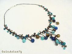Blue brown stone crystal pendant necklace on wax by CuteActually
