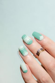 Mint nails for summer. HOW-TO: http://sonailicious.com/outlined-half-moon-manicure-tutorial/