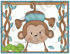 Graphics by Primsy Resale @ Digi Web Studio. Baby Boy Nursery Decor, Baby Boy Nurseries, Nursery Art, Nursery Wallpaper, Room Stickers, Monkey Business, Wall Art Prints, Kids Room, Web Studio