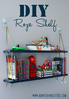 Rope Shelf for Tweens Room Super cute way to display toys and novelties. Could be great in a nautical themed boys room?Super cute way to display toys and novelties. Could be great in a nautical themed boys room? Cool Bedrooms For Boys, Kids Bedroom, Room Boys, Kids Rooms, Bedroom Ideas, Diy Pallet Projects, Cool Diy Projects, All You Need Is, Rope Shelves