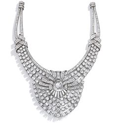 Magnificent & Historic Platinum & Diamond Necklace, Van Cleef & Arpels, 1939. Price Realized $4,282,000 USD - This extraordinary piece of jewellery was created in Paris at the end of the 1930s. With a matching tiara, it was bought by Queen Nazli (1894-1978) for the grandest ceremony that had ever happened in Egypt since the time of the pharaohs: the wedding of Queen Nazli's eldest daughter, Princess Fawzia (1921-2013) to the crown Prince of Iran, Mohamad Reza Pahlavi (1919-1980).