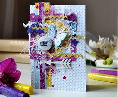 Geometric card with Imaginarium Designs chipboard - Scrapbook.com