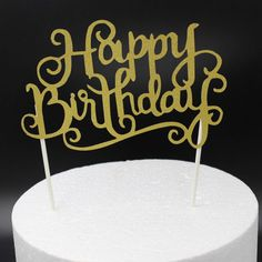 Gold Silver Happy Birthday Cake Topper Party Wedding Supplies Cake Decorations…