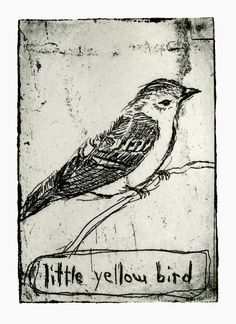Bird Decor Little Yellow Bird Art Print by LittleBeanPrints Illustrations, Illustration Art, Bird Tattoo Neck, Little Yellow Bird, Bird Drawings, Art Design, Gravure, Art Sketchbook, Bird Art