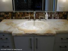 Custom: Custom Integral Sinks and Countertops in White Onyx Contemporary Interior Design, Interior Design Kitchen, Bathroom Fixtures, Bathrooms, Brick And Wood, Master Bath Remodel, Stone Sculpture, Wood Accents, Granite Countertops