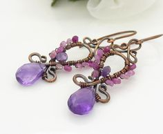 Copper and amethyst earrings with pink sapphire, Copper jewelry, Wire wrapped copper earrings, Pink and purple amethyst jewelry