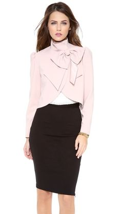 alice + olivia Addison Bow Jacket in Color: Light Pink - $367.00