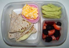 Apple & peanut butter quesadilla (something a little different and fun and CRUNCHY!), colby jack cheese, Snapea Crisps, strawberries & blackberries from Just a Bunch of Momsense