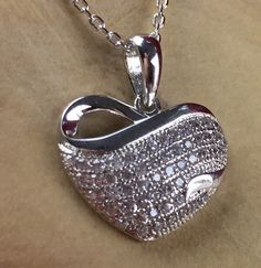 Rhodium Plated Zircon Encrusted Heart Pendant Hypoallergenic Necklace N1669|We combine shipping|No Question Refunds|Bid $60 for free shipping. Starting at $1