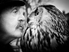 """Sue Foll  UK  """"Ray and Heshe""""  Eurasian eagle owl and custodian, Ray, Cheshire, England"""