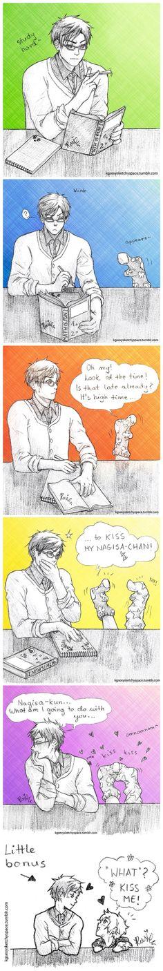 Reigisa ♥ - Yes, Rei, kiss Nagisa. You know you want to.