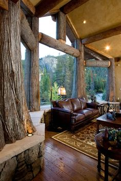 Luxury cabin/mountain home great room with picture windows