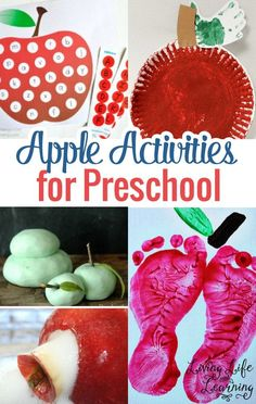 Get into the fall spirit with these Apple activities for preschool and get the red paint ready for these fun activities! Kids will really love them and be asking you for more apples. Preschool Apple Activities, Preschool Apple Theme, Fun Activities For Toddlers, Preschool Lessons, Preschool Apples, Preschool Ideas, Apple Crafts For Preschoolers, Learning Activities, Preschool Learning