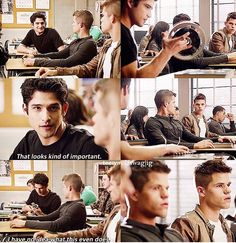 Teen Wolf: Scott showing the twins their bike parts...