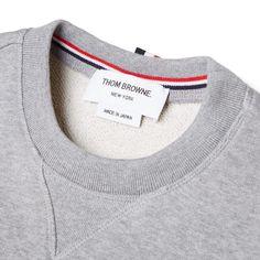Thom Browne Button Detail Arm Stripe Sweat (Light Grey)