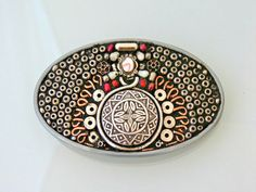 Womens beaded belt buckle with Abalone fresh by DMacBeltBuckles