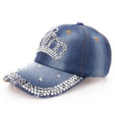 Stylish Rhinestones Butterfly Shape Embellished Baseball Cap For Women  (BLUE)  15b5bed16ff