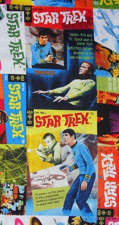 Star Trek Comic Book Covers Fabric by trinketsintheattic on Etsy