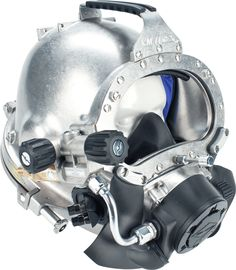 The Kirby Morgan 77 Commercial Diver's Helmet is a stainless steel commercial diving helmet with a rugged outer shell. http://www.amronintl.com/kirby-morgan-77-commercial-diving-helmet.html