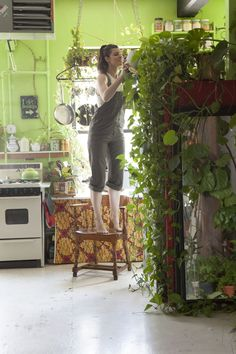 """I think that the only way I've really been able to survive in New York is by surrounding myself with plants,"" says Summer Rayne Oakes, who lives in what might be New York City's greenest apartment."