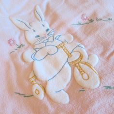 Vintage Baby Blanket Bunny Chick Handsewn