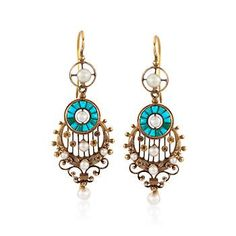 """C. 1950. These Retro earrings from our Estate collection blend turquoise, 2.5-4.5mm cultured baroque pearls and 18kt tri-tone gold for a distinctive and beautiful look. Hanging length is 2"""". Earwire, 18kt tri-tone earrings.  <b>Exclusive, one-of-a-kind Estate Jewelry.</b> Free shipping & easy 30-day returns. Fabulous jewelry. Great prices. Since 1952."""