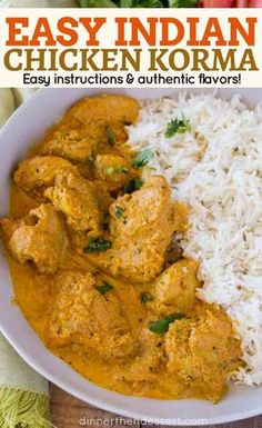 Chicken Korma is a traditional Indian dish that's light and flavorful almond c. Chicken Korma is a traditional Indian dish that's light and flavorful almond curry made with tomato paste, plenty of spices and cream thats buttery and completely delicious. Easy Indian Recipes, Asian Recipes, Crockpot Indian Recipes, South Indian Chicken Recipes, India Food, Food Trucks, Indian Dishes, International Recipes, Cooking Recipes