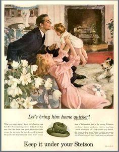 """Otro anuncio de sombreros Steson en su campaña bélica de la segunda guerra mundial. """"Keep it under your Stetson"""""""