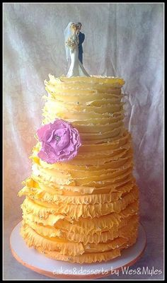 Rustic Frilled and Ruffled Ombre Wedding Cake