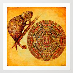 The camouflage of the Aztec chameleon Art Print Promoters - $15.60