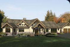 A ranch style traditional timber frame home floor plan; the Pheasant Ridge