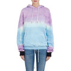 Off-White c/o Virgil Abloh Women's Tie-Dyed Cotton Terry Hoodie ($575) ❤ liked on Polyvore featuring tops, hoodies, blue hooded sweatshirt, long sleeve hoodie, hooded sweatshirt, tie dye hoodies and sweatshirt hoodies