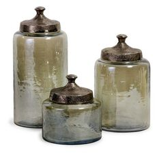 "Round Green Luster Canisters - Set of 3 6.75-10-13""""h x 6-6-6.25""""d"