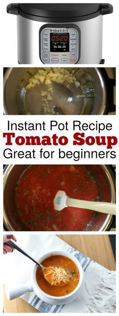 Have you joined the Instant Pot Bandwagon? We have the perfect Instant Pot Tomato Basil Soup recipe for beginners to make! It's perfect to get you started and it tastes AMAZING too! (Vegan Recipes For Beginners) Instant Pot Pressure Cooker, Pressure Cooker Recipes, Pressure Cooking, Pressure Pot, Easy Dinner Recipes, Soup Recipes, Cooking Recipes, Chicken Recipes, Recipies