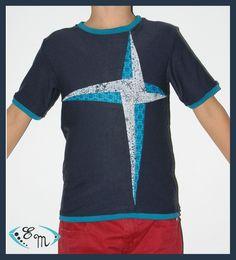 le tee-shirt patch avec patron gratuit en: 2/4/6/8 ans.