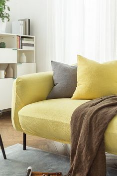 Sofa Covers Jacquard Spandex Fabric Stretch Slipcover in Yellow Sofa Throw, Throw Pillows, Old Sofa, Sofa Covers, Spandex Fabric, Slipcovers, Pure Products, Yellow, Bed