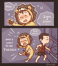 Danny as a lion and jdog trying to put him to bed XD so cute!